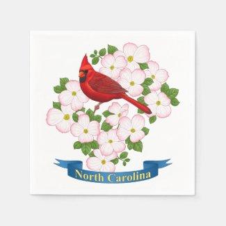 North Carolina State Cardinal Bird Dogwood Flower Napkin
