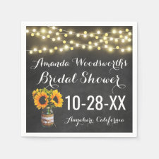 Sunflower Chalkboard Country Rustic Bridal Shower Napkins
