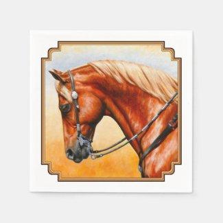 Western Sorrel Quarter Horse Square Border Paper Napkin