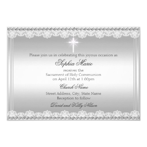 Elegant Pearl Bow & Cross First Holy Communion 3.5x5 Paper Invitation Card (back side)