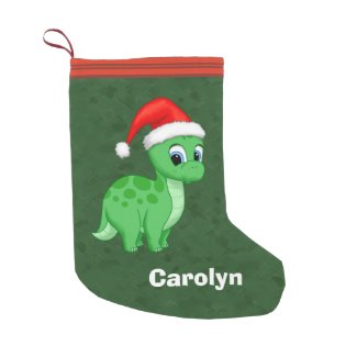Cute Green Baby Dinosaur with Santa Hat Small Christmas Stocking