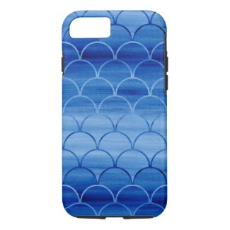 Painted Blue Geometric Scale Pattern iPhone 7 Case