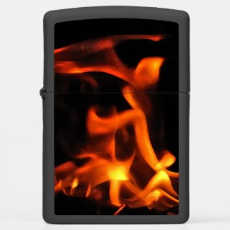 Orange and Black Dancing Fire Zippo Lighter