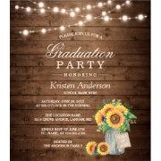 Rustic Sunflowers String Lights Graduation Party Card Zazzle.com
