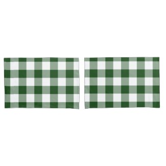 Green and White Gingham Pattern Pillowcase