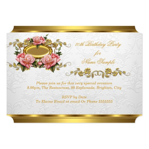 Elegant 80th Birthday Party Pink Gold Roses White 5x7 Paper Invitation Card (back side)