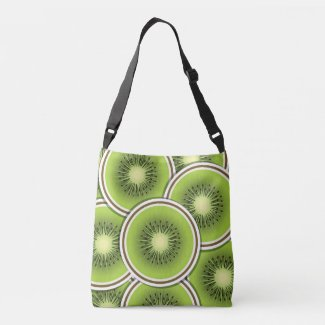 Funky kiwi fruit slices tote bag