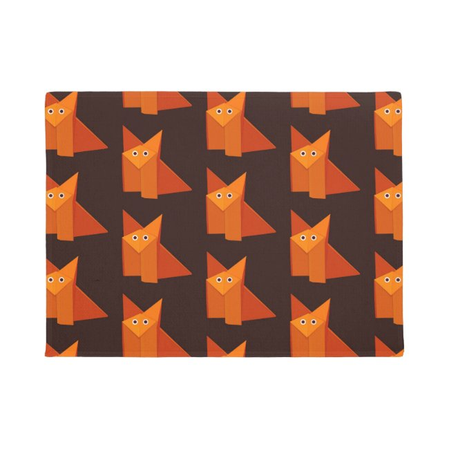 Geometric Cute Origami Fox Pattern Doormat