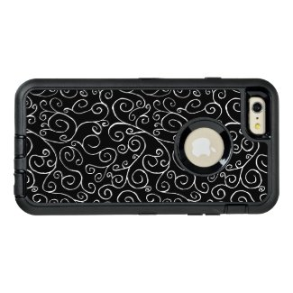 Thin Scrolling White Curves on Black OtterBox iPhone 6/6s Plus Case