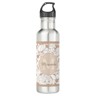 Modern Tan Floral Girly Monogram With Name Stainless Steel Water Bottle