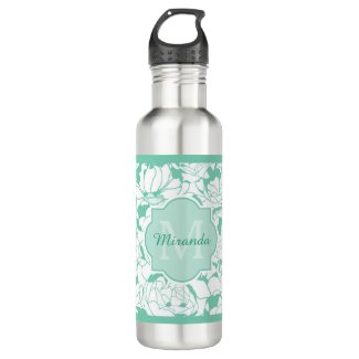Modern Mint Green Floral Girly Monogram With Name Water Bottle