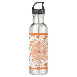 Modern Orange Floral Girly Monogram With Name Water Bottle