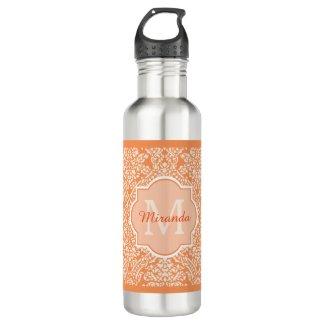Elegant Orange Damask Pattern Monogram and Name Stainless Steel Water Bottle