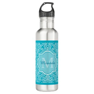 Lovely Turquoise Damask Pattern Monogram With Name Water Bottle