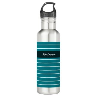 Modern Chic Thin Teal Stripes With Name Stainless Steel Water Bottle