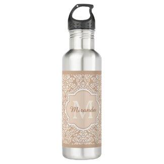 Posh Tan Damask Pattern Monogram With Name Stainless Steel Water Bottle