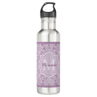 Chic Lavender Purple Damask Monogram With Name Stainless Steel Water Bottle