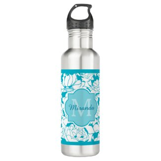 Modern Turquoise Floral Girly Monogram With Name Water Bottle