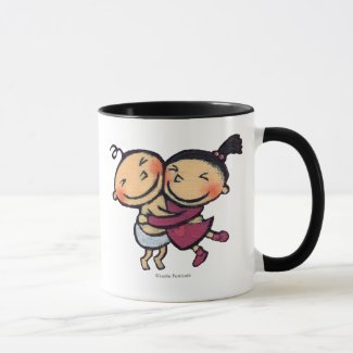 Cute Illustrated Toddlers Hugging Mug