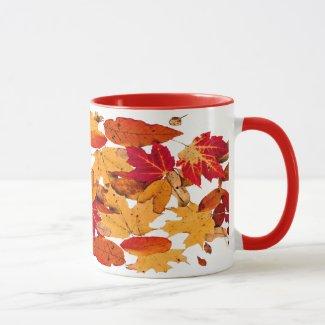 Autumn Leaves in Red Orange Yellow Brown Mug