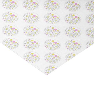 """Retro Daisy Flowers with Yellow and Pink Circles 10"""" X 15"""" Tissue Paper"""