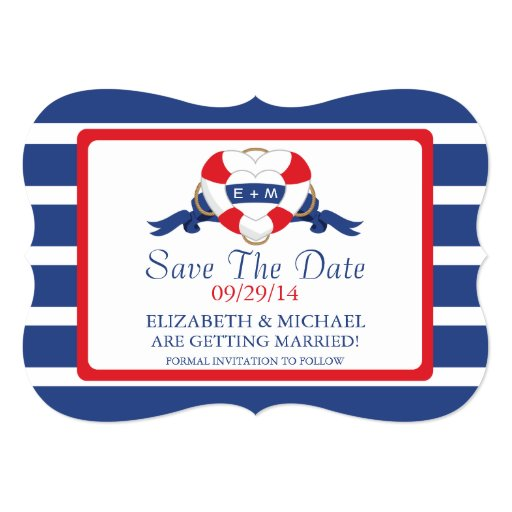 Modern Nautical Heart Buoy Save The Date 5x7 Paper Invitation Card