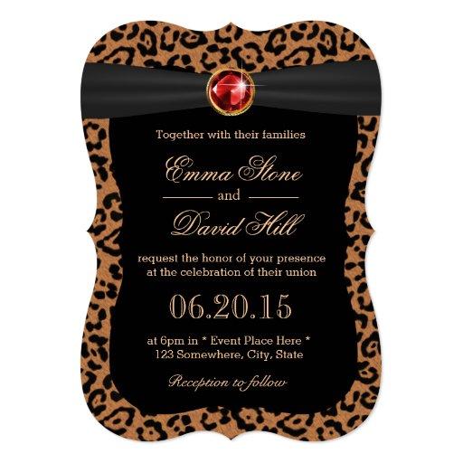Luxury Leopard Print Ruby Gemstone Wedding 5x7 Paper Invitation Card