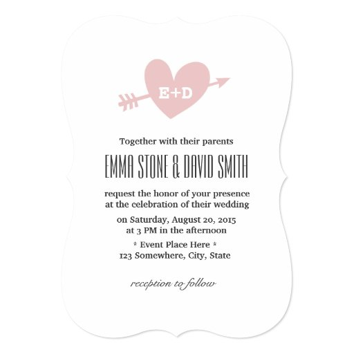 "Simple Pink Heart & Arrow Love Wedding Invitations 5"" X 7"" Invitation C..."