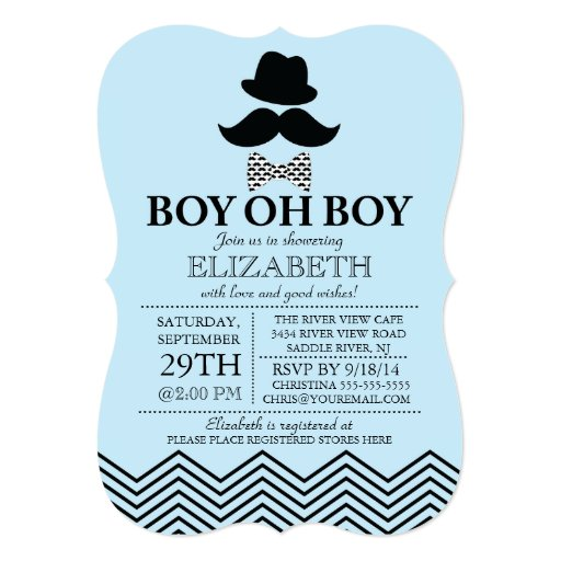 Modern Boy Oh Boy Little Man Mustache Baby Shower 5x7 Paper Invitation Card