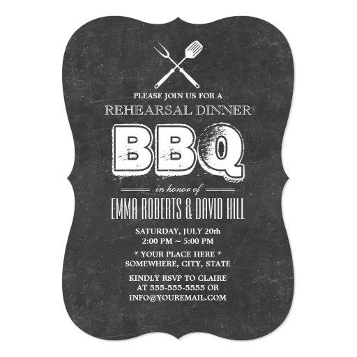 Vintage Chalkboard BBQ Rehearsal Dinner 5x7 Paper Invitation Card