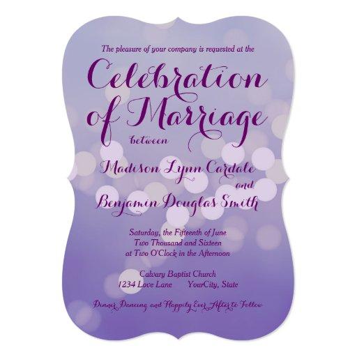 "Modern Purple Lilac Bokeh Dots Wedding Invitations 5"" X 7"" Invitation Card"