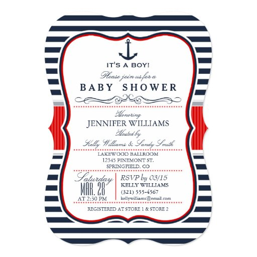 "Elegant Nautical Baby Shower Invite; Navy and Red 5"" X 7"" Invitation Card"