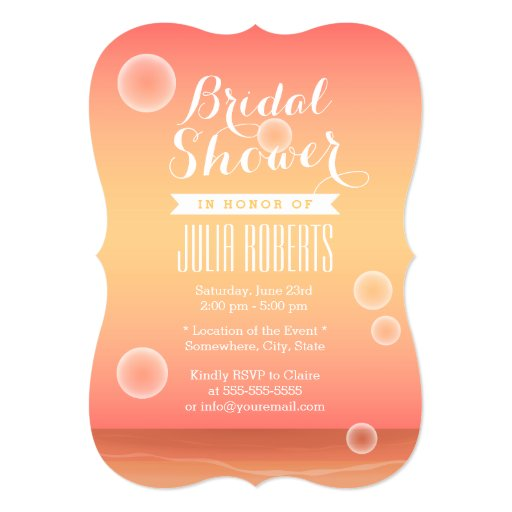 "Sunset Beach Bubbles Bridal Shower Invitations 5"" X 7"" Invitation Card"
