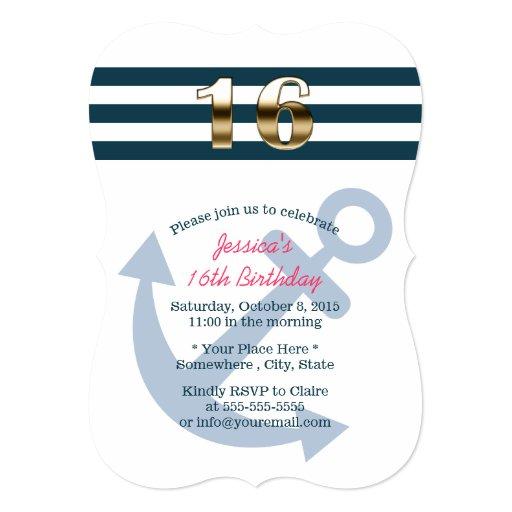 Gold Sixteen Nautical Stripes Sweet 16 5x7 Paper Invitation Card