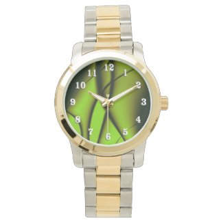 Deep Green Fractal Design Wrist Watch