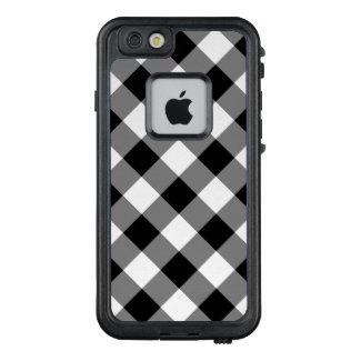 Stylish Diagonal Black and White Checked Plaid LifeProof® FRĒ® iPhone 6/6s Case
