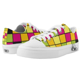 Brightly Neon Colored Squares Pattern Low-Top Sneakers