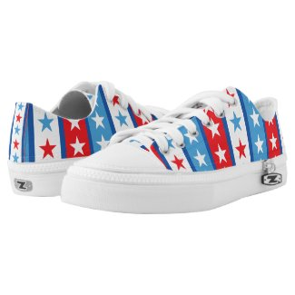 Red White and Blue Stars and Stripes Printed Shoes