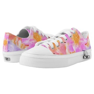 Multicolored Floral Watercolor Low-Top Sneakers