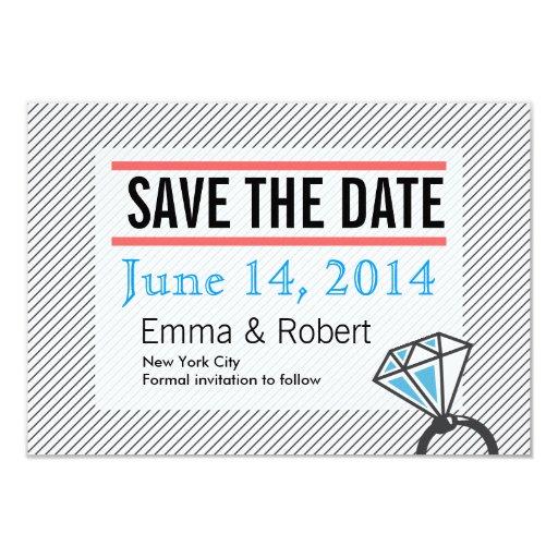 "Big Diamond Ring Stripes Save the Date Cards 3.5"" X 5"" Invitation Card"