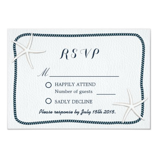 Nautical Starfish & Twine Frame Wedding RSVP 3.5x5 Paper Invitation Card