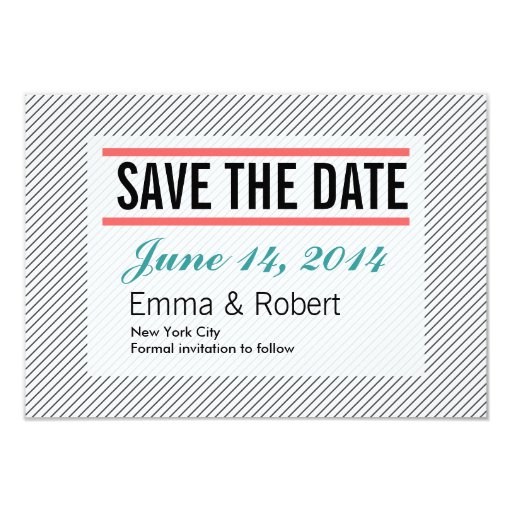 """Plain Diagonal Lines Save the Date Cards 3.5"""" X 5"""" Invitation Card"""
