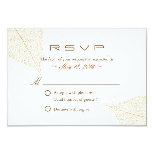 "Graceful Yellow Leaves Fall Wedding RSVP Card 3.5"" X 5"" Invitation Card"