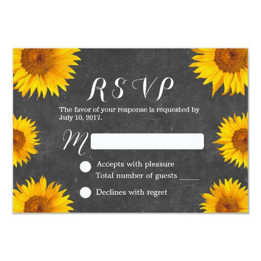 Country Sunflowers Chalkboard Wedding RSVP 3.5x5 Paper Invitation Card (front side)