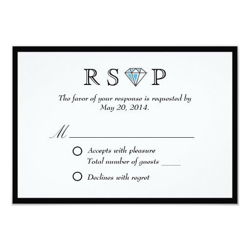 "Black Border Diamond Stone Wedding RSVP Card 3.5"" X 5"" Invitation Card"