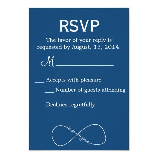 Bride & Groom Infinity Modern Wedding RSVP 3.5x5 Paper Invitation Card (front side)