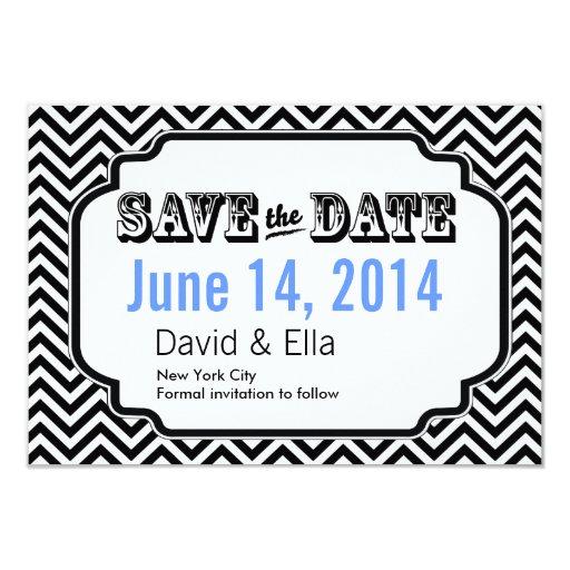 "Chic Black Chevron Stripes Save the Date Cards 3.5"" X 5"" Invitation Card"