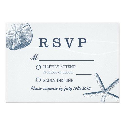 Sand Dollar & Starfish Beach Wedding RSVP 3.5x5 Paper Invitation Card