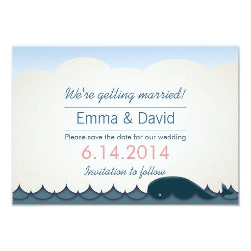 "Elegant Blue Whale Save the Date Announcements 3.5"" X 5"" Invitation Card"