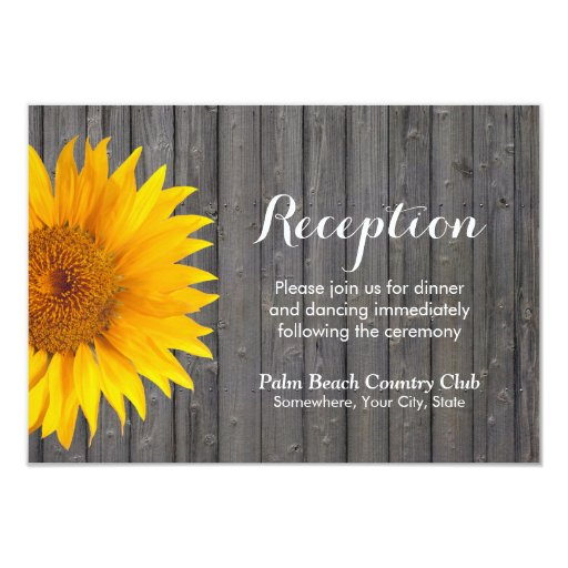 Country Sunflower Barn Wood Wedding Reception 3.5x5 Paper Invitation Card